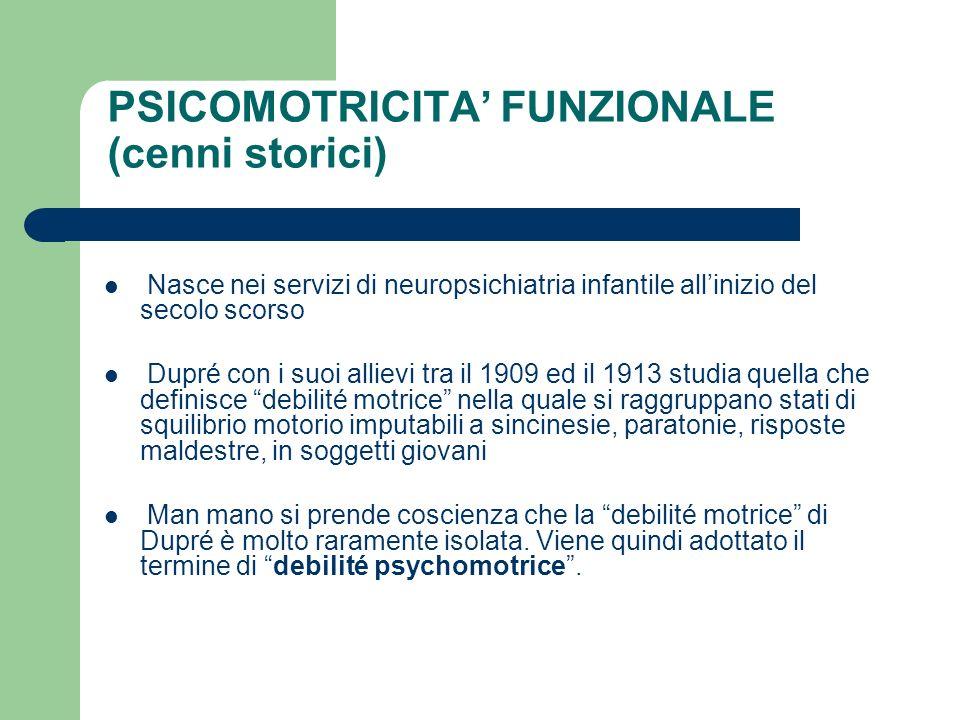 PSICOMOTRICITA FUNZIONALE (cenni storici) Nasce nei servizi di neuropsichiatria infantile allinizio del secolo scorso Dupré con i suoi allievi tra il