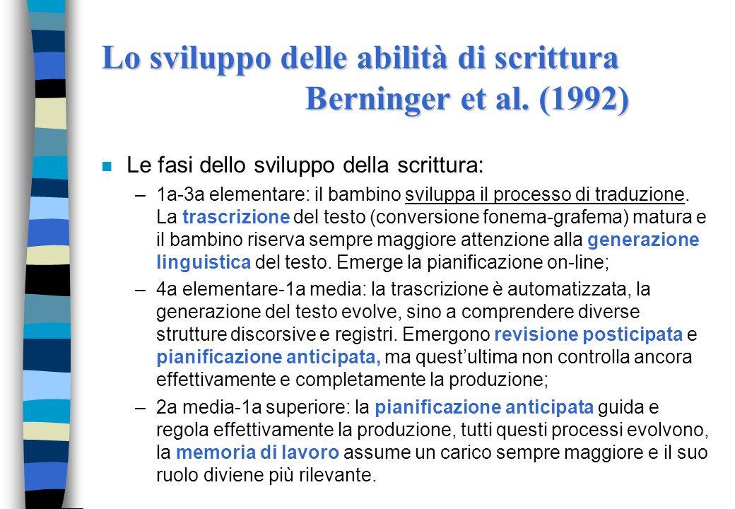 n Le fasi dello sviluppo della scrittura: –1a-3a elementare: il bambino sviluppa il processo di traduzione. La trascrizione del testo (conversione fon