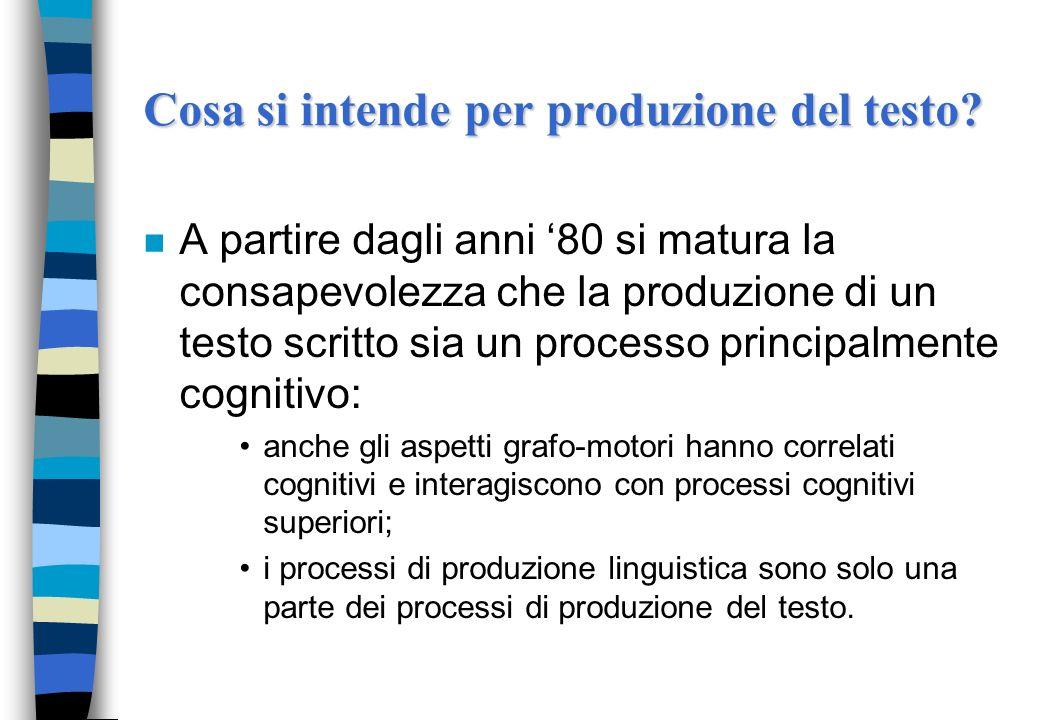 Cosa si intende per produzione del testo? n A partire dagli anni 80 si matura la consapevolezza che la produzione di un testo scritto sia un processo