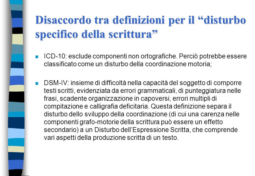 Disaccordo tra definizioni per il disturbo specifico della scrittura n ICD-10: esclude componenti non ortografiche. Perciò potrebbe essere classificat