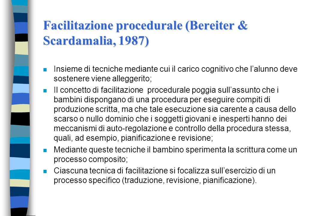 Facilitazione procedurale (Bereiter & Scardamalia, 1987) n Insieme di tecniche mediante cui il carico cognitivo che lalunno deve sostenere viene alleg