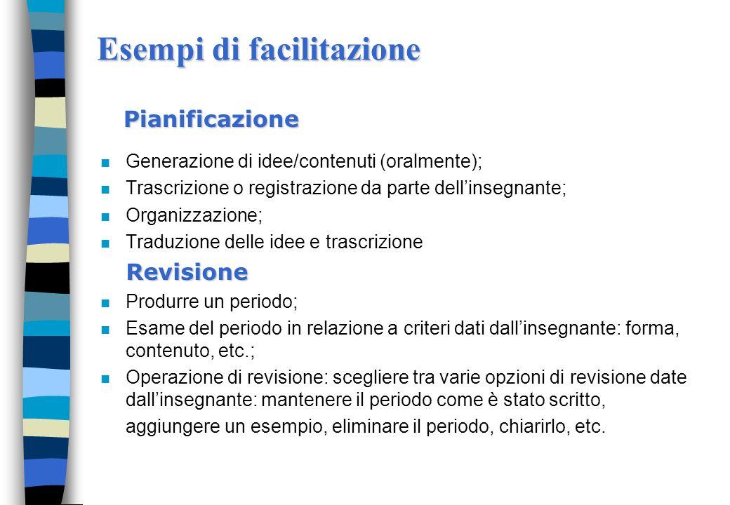 Esempi di facilitazione n Generazione di idee/contenuti (oralmente); n Trascrizione o registrazione da parte dellinsegnante; n Organizzazione; n Tradu
