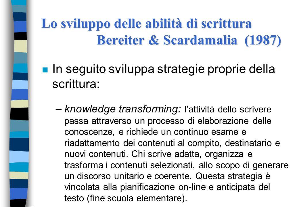 n In seguito sviluppa strategie proprie della scrittura: –knowledge transforming: lattività dello scrivere passa attraverso un processo di elaborazion