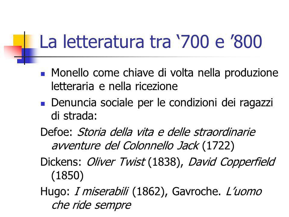 La letteratura tra 700 e 800 Monello come chiave di volta nella produzione letteraria e nella ricezione Denuncia sociale per le condizioni dei ragazzi