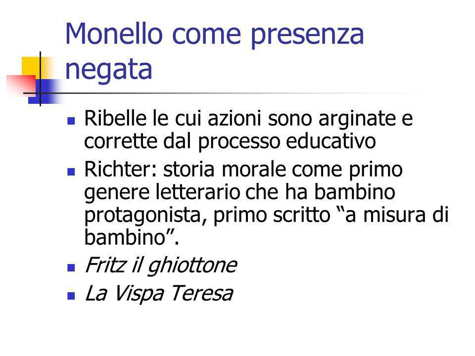 Monello come presenza negata Ribelle le cui azioni sono arginate e corrette dal processo educativo Richter: storia morale come primo genere letterario