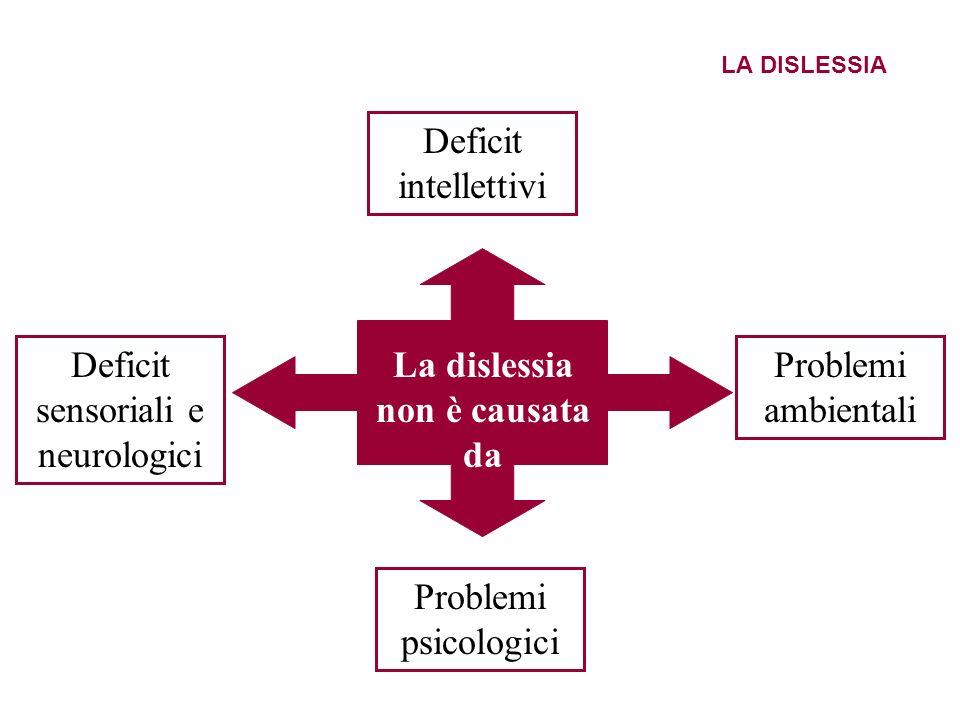 LA DISLESSIA Deficit intellettivi Deficit sensoriali e neurologici Problemi ambientali Problemi psicologici La dislessia non è causata da
