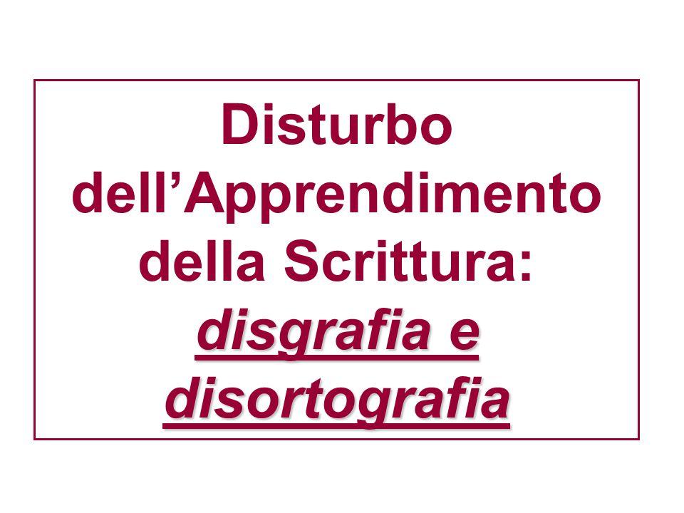 disgrafia e disortografia Disturbo dellApprendimento della Scrittura: disgrafia e disortografia