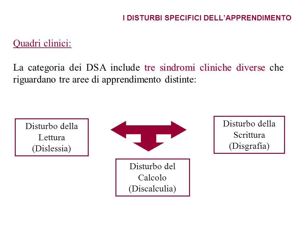 I DISTURBI SPECIFICI DELLAPPRENDIMENTO Quadri clinici: tre sindromi cliniche diverse La categoria dei DSA include tre sindromi cliniche diverse che ri
