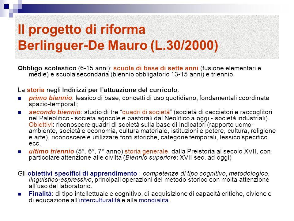 Il progetto di riforma Berlinguer-De Mauro (L.30/2000) Obbligo scolastico (6-15 anni): scuola di base di sette anni (fusione elementari e medie) e scuola secondaria (biennio obbligatorio 13-15 anni) e triennio.