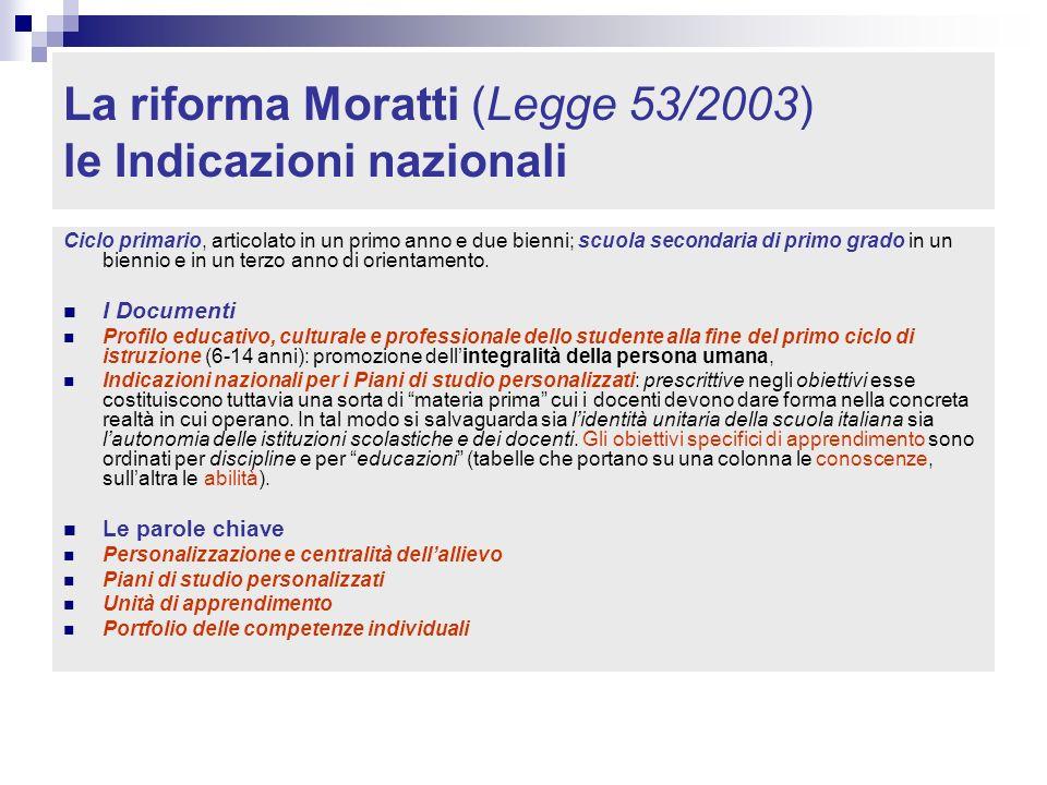 La riforma Moratti (Legge 53/2003) le Indicazioni nazionali Ciclo primario, articolato in un primo anno e due bienni; scuola secondaria di primo grado in un biennio e in un terzo anno di orientamento.