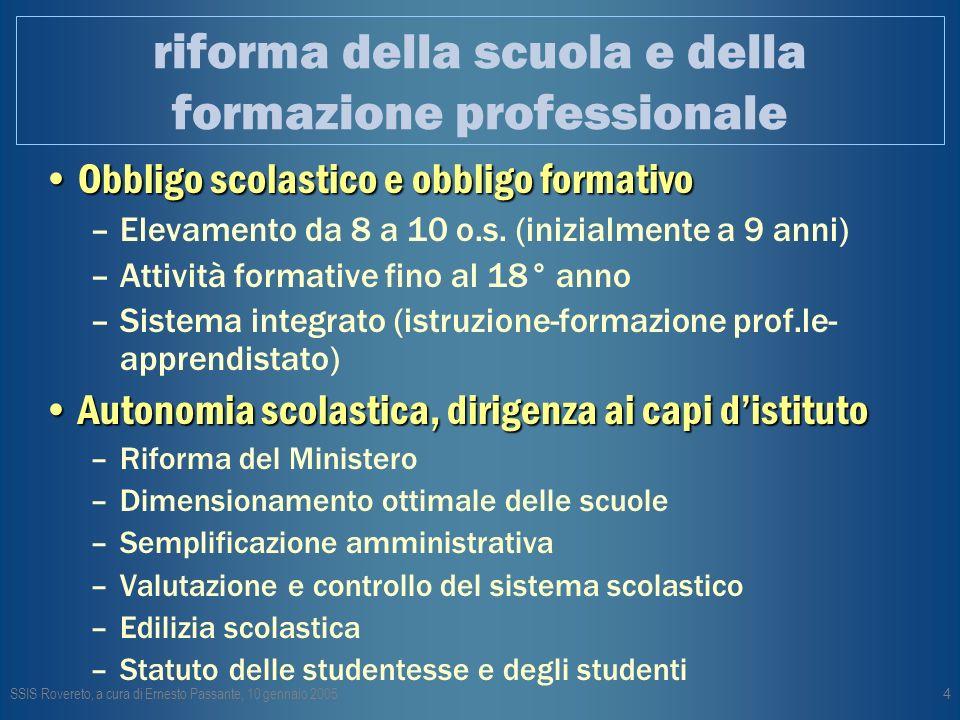 SSIS Rovereto, a cura di Ernesto Passante, 10 gennaio 20054 riforma della scuola e della formazione professionale Obbligo scolastico e obbligo formativoObbligo scolastico e obbligo formativo –Elevamento da 8 a 10 o.s.