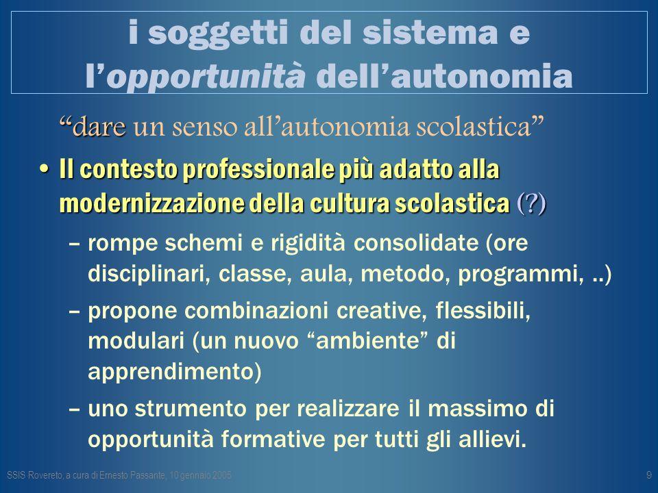 SSIS Rovereto, a cura di Ernesto Passante, 10 gennaio 200510 Autonomia.