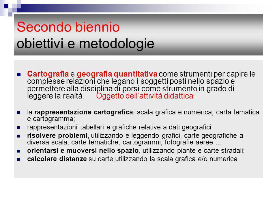 Secondo biennio obiettivi e metodologie Cartografia e geografia quantitativa come strumenti per capire le complesse relazioni che legano i soggetti po