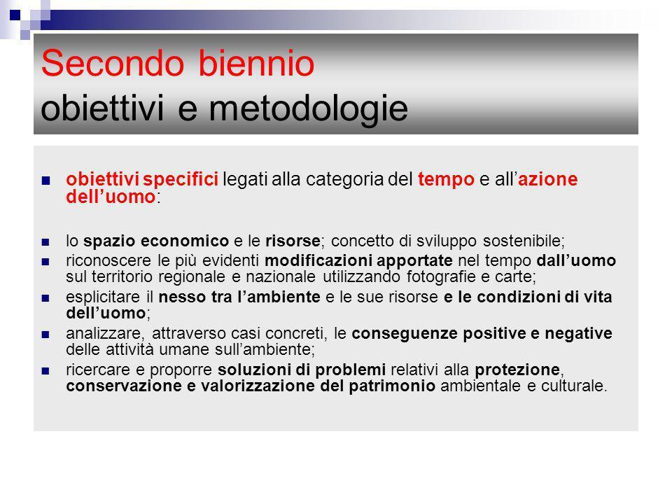 Secondo biennio obiettivi e metodologie obiettivi specifici legati alla categoria del tempo e allazione delluomo: lo spazio economico e le risorse; co