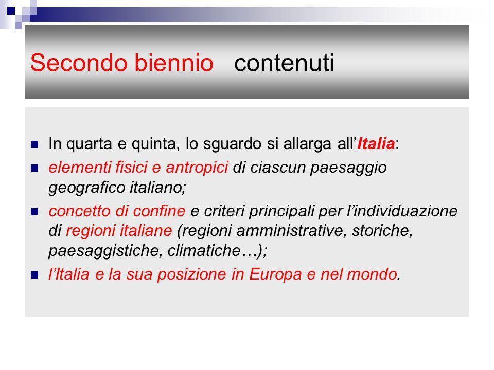 Secondo biennio contenuti In quarta e quinta, lo sguardo si allarga allItalia: elementi fisici e antropici di ciascun paesaggio geografico italiano; c