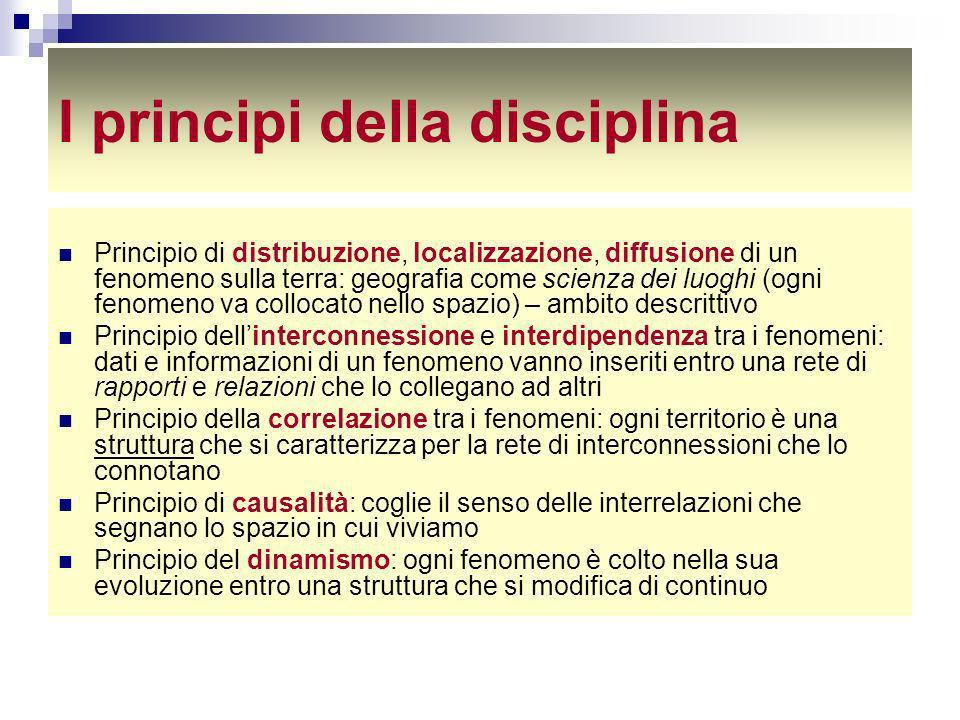 I principi della disciplina Principio di distribuzione, localizzazione, diffusione di un fenomeno sulla terra: geografia come scienza dei luoghi (ogni