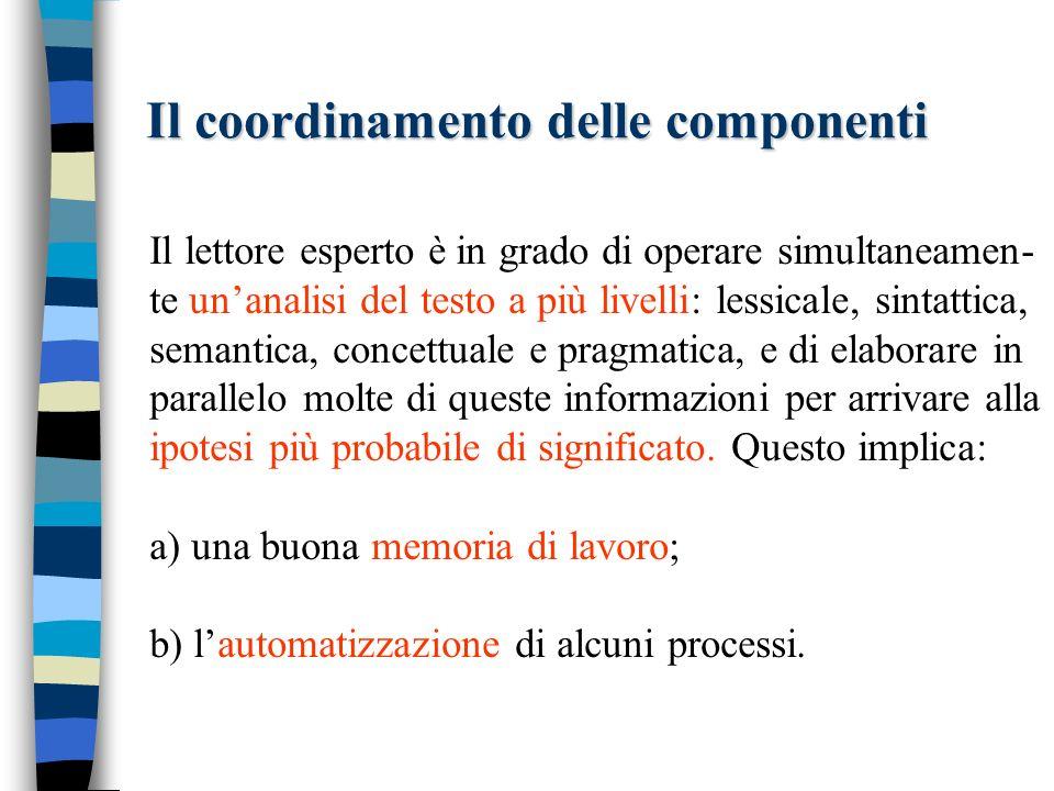 Il coordinamento delle componenti Il lettore esperto è in grado di operare simultaneamen- te unanalisi del testo a più livelli: lessicale, sintattica,