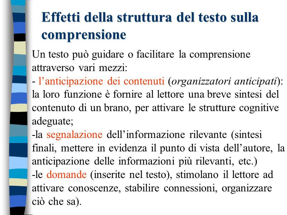 Effetti della struttura del testo sulla comprensione Un testo può guidare o facilitare la comprensione attraverso vari mezzi: - lanticipazione dei con