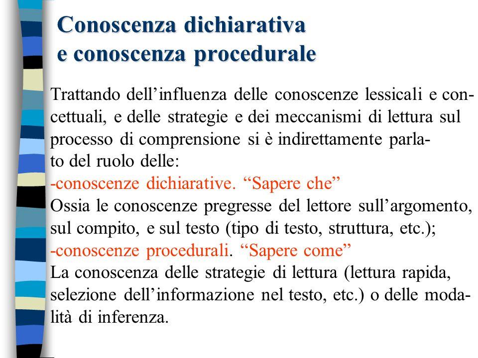 Conoscenza dichiarativa e conoscenza procedurale Trattando dellinfluenza delle conoscenze lessicali e con- cettuali, e delle strategie e dei meccanism