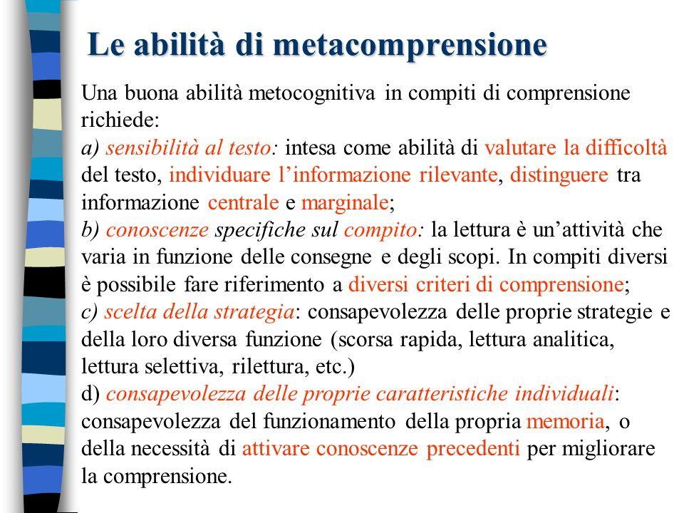Le abilità di metacomprensione Una buona abilità metocognitiva in compiti di comprensione richiede: a) sensibilità al testo: intesa come abilità di va