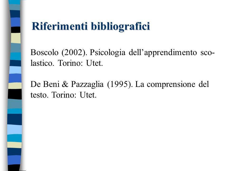 Riferimenti bibliografici Boscolo (2002). Psicologia dellapprendimento sco- lastico. Torino: Utet. De Beni & Pazzaglia (1995). La comprensione del tes