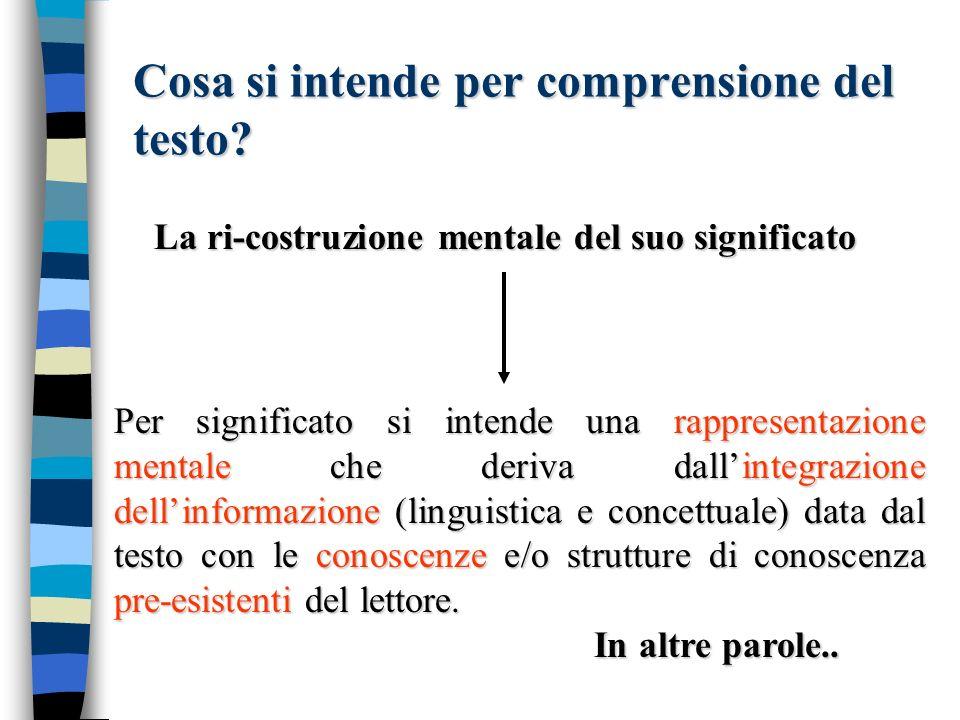 Cosa si intende per comprensione del testo? La ri-costruzione mentale del suo significato Per significato si intende una rappresentazione mentale che