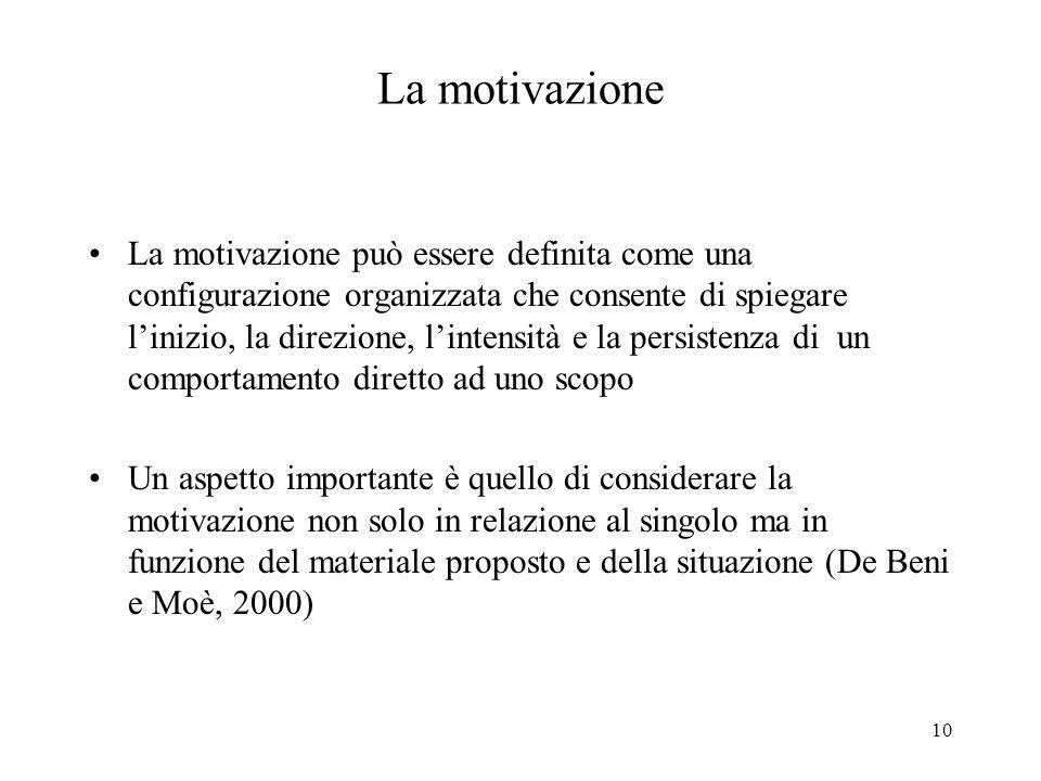 10 La motivazione La motivazione può essere definita come una configurazione organizzata che consente di spiegare linizio, la direzione, lintensità e