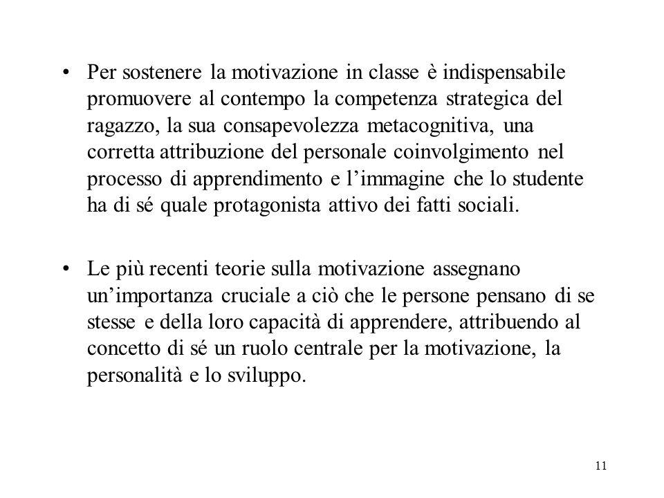 11 Per sostenere la motivazione in classe è indispensabile promuovere al contempo la competenza strategica del ragazzo, la sua consapevolezza metacogn