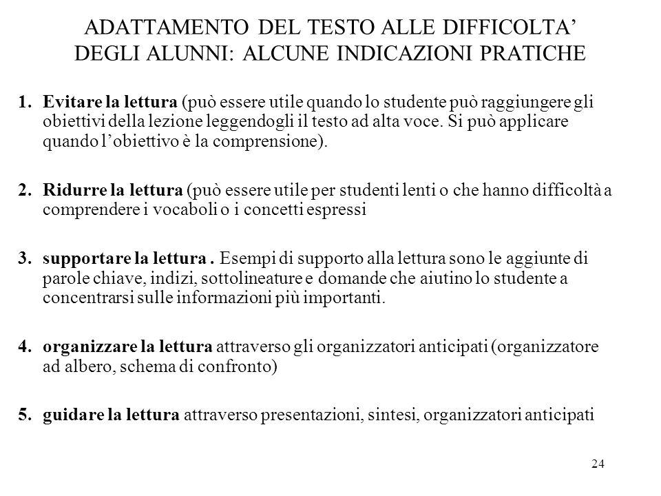 24 ADATTAMENTO DEL TESTO ALLE DIFFICOLTA DEGLI ALUNNI: ALCUNE INDICAZIONI PRATICHE 1.Evitare la lettura (può essere utile quando lo studente può raggi