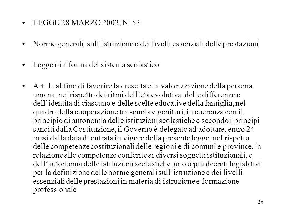 26 LEGGE 28 MARZO 2003, N. 53 Norme generali sullistruzione e dei livelli essenziali delle prestazioni Legge di riforma del sistema scolastico Art. 1: