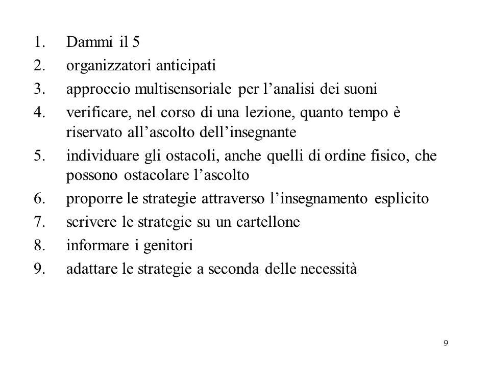9 1.Dammi il 5 2.organizzatori anticipati 3.approccio multisensoriale per lanalisi dei suoni 4.verificare, nel corso di una lezione, quanto tempo è ri