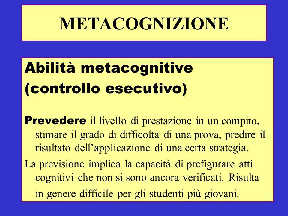 METACOGNIZIONE Abilità metacognitive (controllo esecutivo) Prevedere il livello di prestazione in un compito, stimare il grado di difficoltà di una pr