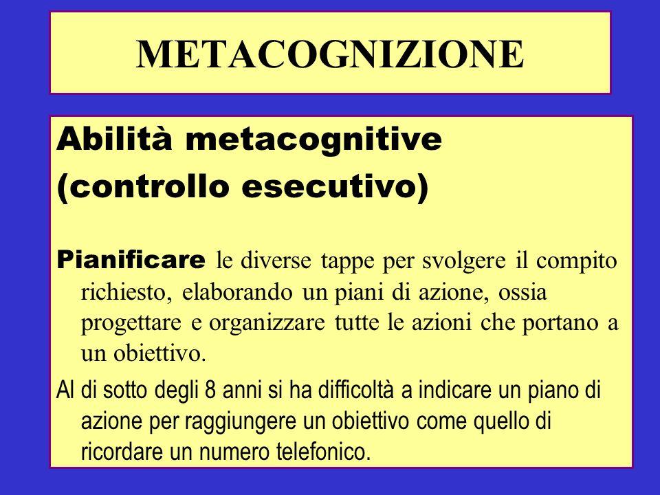 Abilità metacognitive (controllo esecutivo) Pianificare le diverse tappe per svolgere il compito richiesto, elaborando un piani di azione, ossia proge