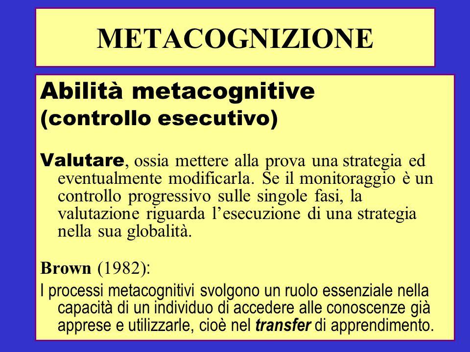 Abilità metacognitive (controllo esecutivo) Valutare, ossia mettere alla prova una strategia ed eventualmente modificarla. Se il monitoraggio è un con