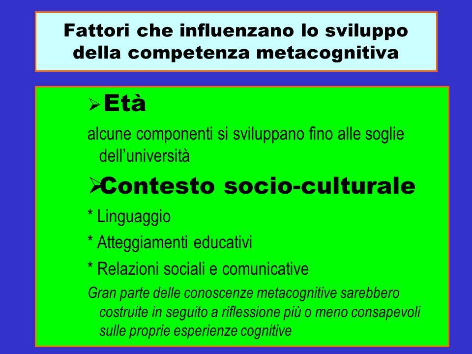 Fattori che influenzano lo sviluppo della competenza metacognitiva Età alcune componenti si sviluppano fino alle soglie delluniversità Contesto socio-