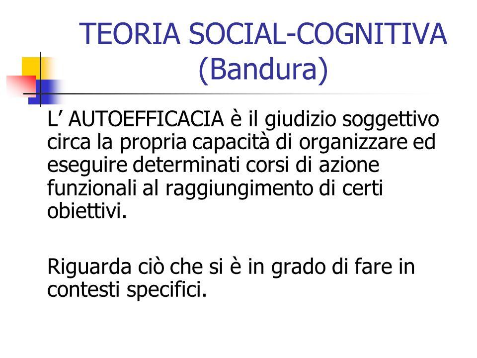 TEORIA SOCIAL-COGNITIVA (Bandura) L AUTOEFFICACIA è il giudizio soggettivo circa la propria capacità di organizzare ed eseguire determinati corsi di a
