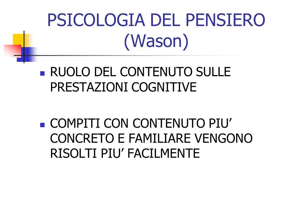 PSICOLOGIA DEL PENSIERO (Wason) RUOLO DEL CONTENUTO SULLE PRESTAZIONI COGNITIVE COMPITI CON CONTENUTO PIU CONCRETO E FAMILIARE VENGONO RISOLTI PIU FAC
