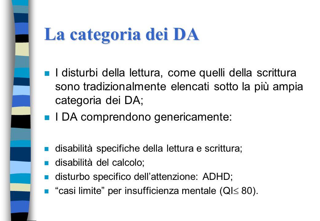 La categoria dei DA n I disturbi della lettura, come quelli della scrittura sono tradizionalmente elencati sotto la più ampia categoria dei DA; n I DA comprendono genericamente: n disabilità specifiche della lettura e scrittura; n disabilità del calcolo; n disturbo specifico dellattenzione: ADHD; n casi limite per insufficienza mentale (QI 80).