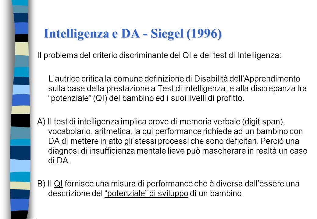 Intelligenza e DA - Siegel (1996) Il problema del criterio discriminante del QI e del test di Intelligenza: Lautrice critica la comune definizione di Disabilità dellApprendimento sulla base della prestazione a Test di intelligenza, e alla discrepanza tra potenziale (QI) del bambino ed i suoi livelli di profitto.