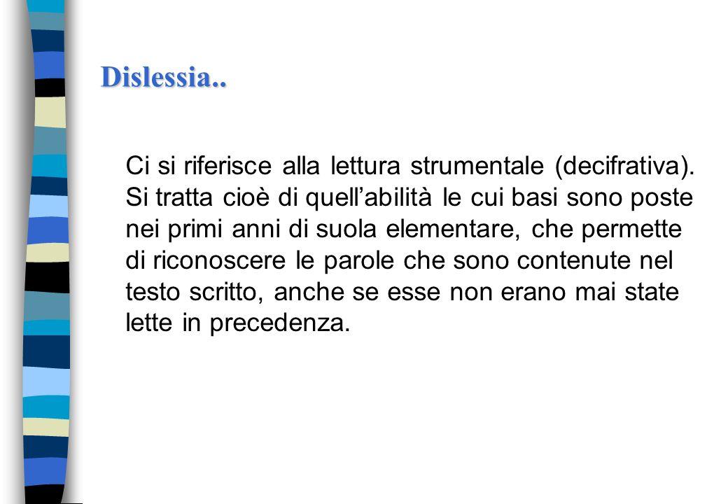 Dislessia..Ci si riferisce alla lettura strumentale (decifrativa).