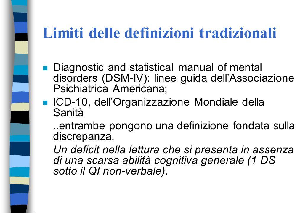 Limiti delle definizioni tradizionali n Diagnostic and statistical manual of mental disorders (DSM-IV): linee guida dellAssociazione Psichiatrica Americana; n ICD-10, dellOrganizzazione Mondiale della Sanità..entrambe pongono una definizione fondata sulla discrepanza.