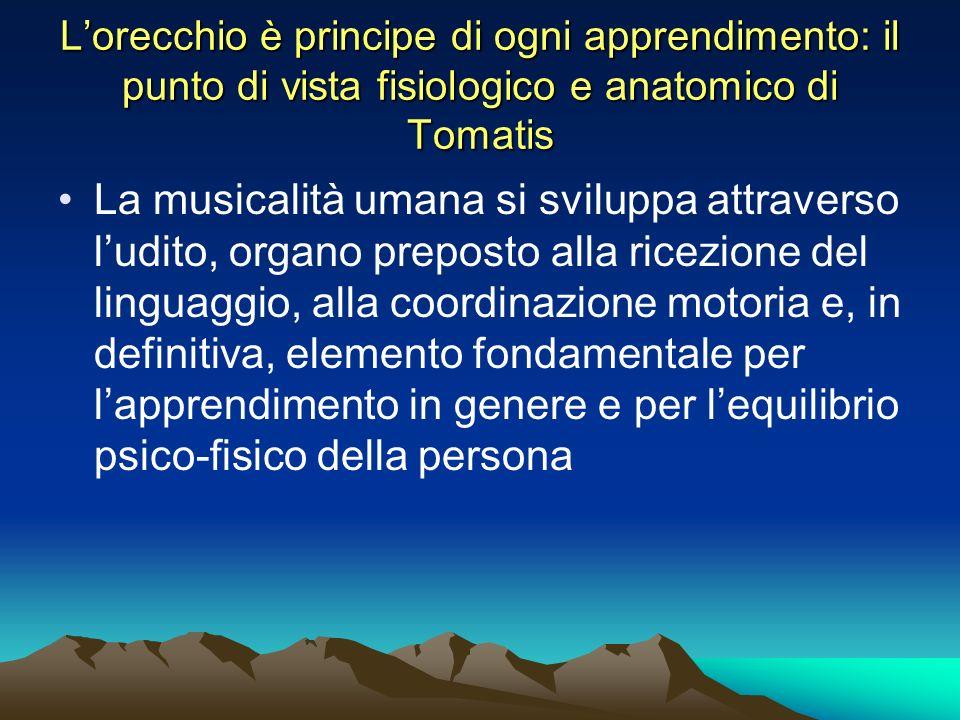 Lorecchio è principe di ogni apprendimento: il punto di vista fisiologico e anatomico di Tomatis La musicalità umana si sviluppa attraverso ludito, or