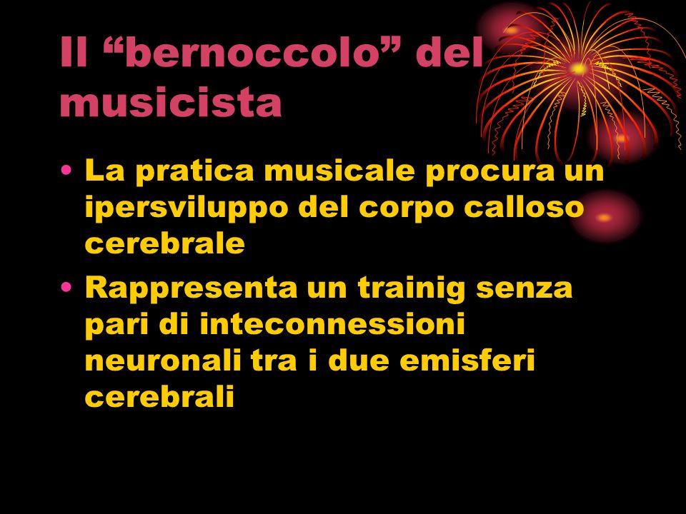 Il bernoccolo del musicista La pratica musicale procura un ipersviluppo del corpo calloso cerebrale Rappresenta un trainig senza pari di inteconnessio