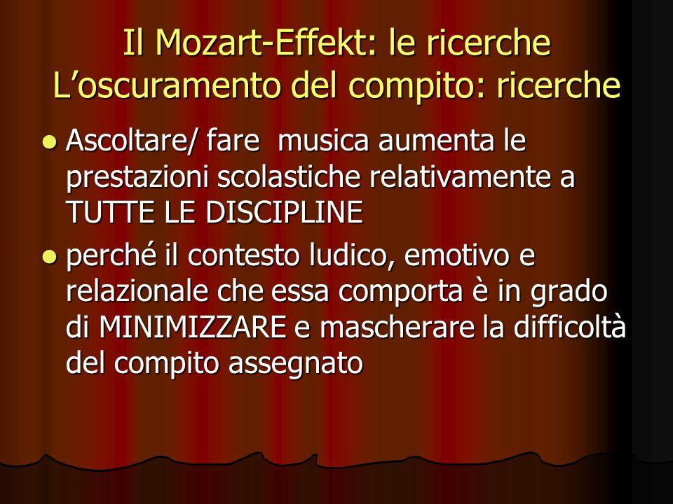 Il Mozart-Effekt: le ricerche Loscuramento del compito: ricerche Ascoltare/ fare musica aumenta le prestazioni scolastiche relativamente a TUTTE LE DI
