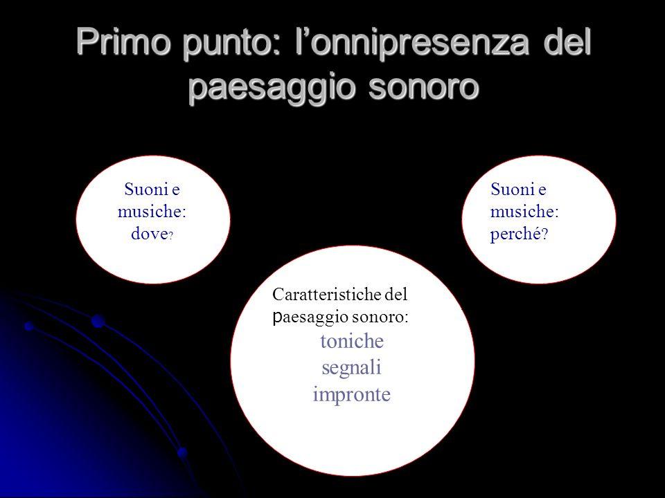 Primo punto: lonnipresenza del paesaggio sonoro Suoni e musiche: dove ? Suoni e musiche: perché ? Caratteristiche del p aesaggio sonoro: toniche segna