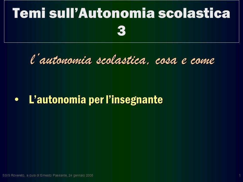 SSIS Rovereto, a cura di Ernesto Passante, 24 gennaio 2005 1 Temi sullAutonomia scolastica 3 lautonomia scolastica, cosa e come Lautonomia per linsegnanteLautonomia per linsegnante