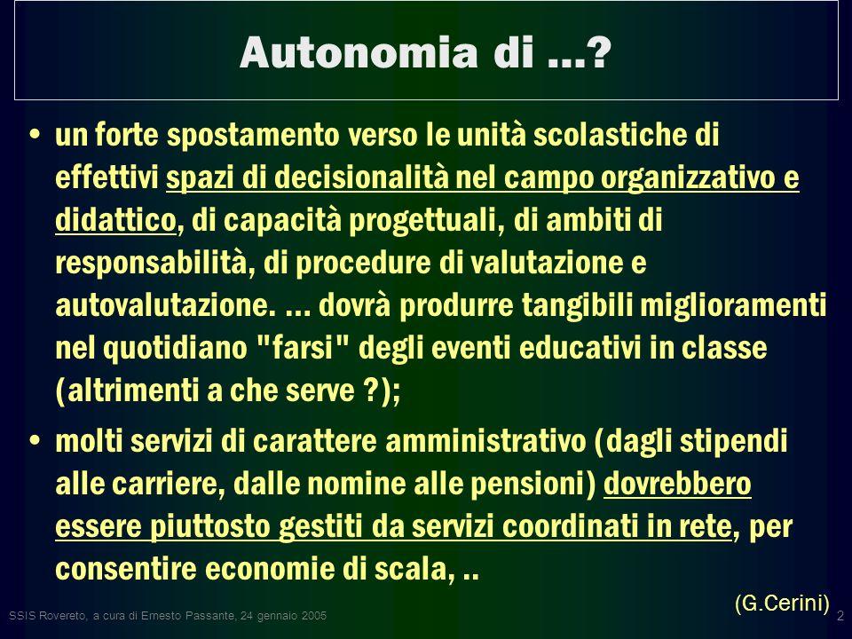SSIS Rovereto, a cura di Ernesto Passante, 24 gennaio 2005 2 Autonomia di ….