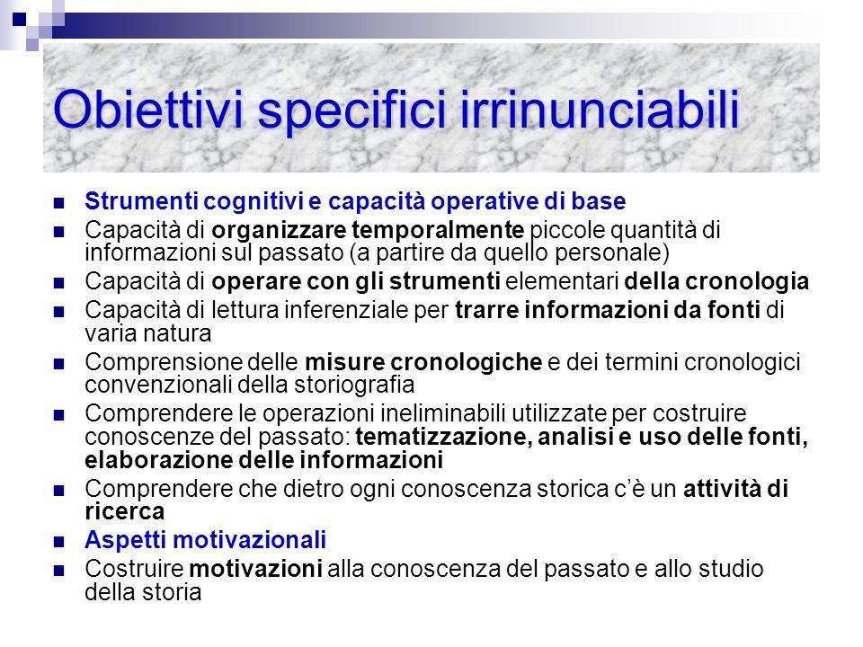 Obiettivi specifici irrinunciabili Strumenti cognitivi e capacità operative di base Capacità di organizzare temporalmente piccole quantità di informaz