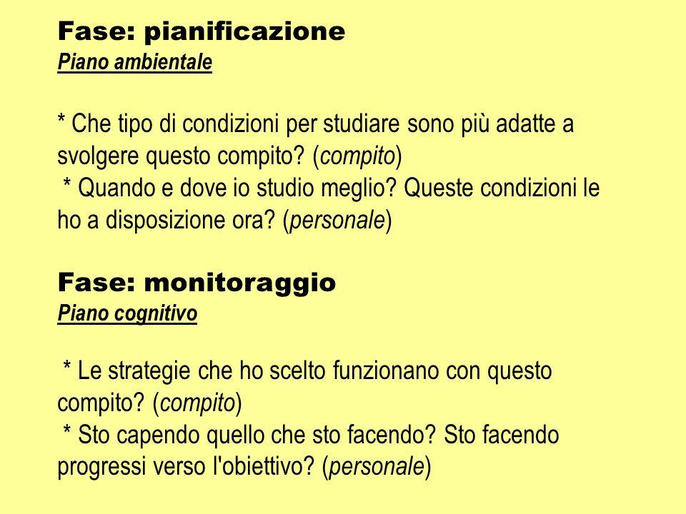 Fase: pianificazione Piano ambientale * Che tipo di condizioni per studiare sono più adatte a svolgere questo compito? ( compito ) * Quando e dove io