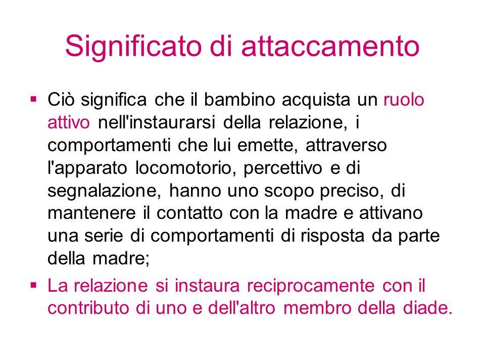Significato di attaccamento Ciò significa che il bambino acquista un ruolo attivo nell'instaurarsi della relazione, i comportamenti che lui emette, at